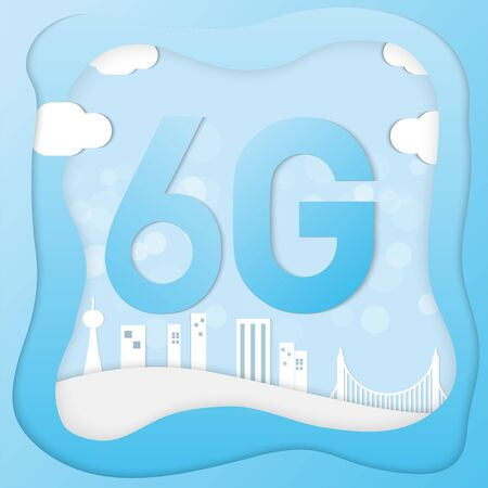 6g digital connection  vector image for technology content.