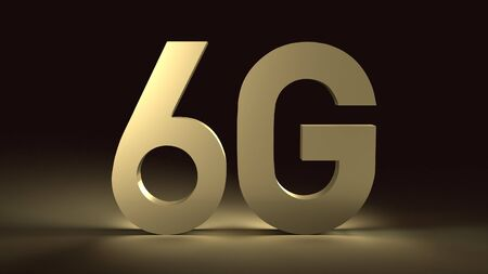 The 3d rendering 6g text gold surface glow in dark image for mobile technology content.