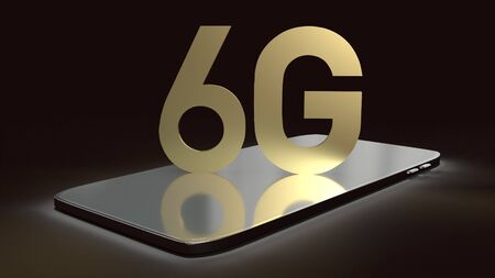 The 3d rendering 6g text gold surface glow on smartphone  in dark image for mobile technology content.