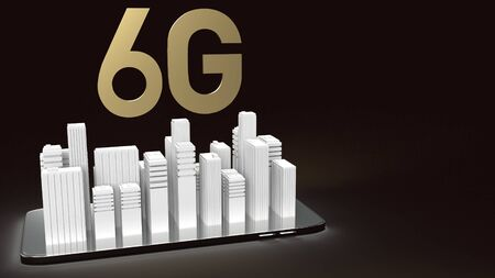3d rendering 6g text gold surface glow on smartphone and building  in dark image for mobile technology content.