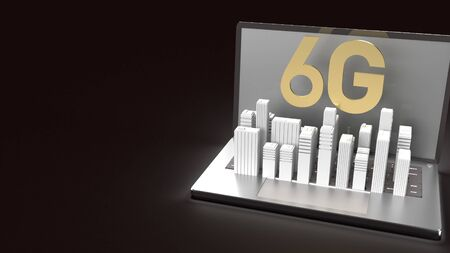 3d rendering 6g text gold surface glow on notebook and building  in dark image for mobile technology content.