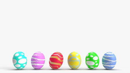 The Easter eggs on white background 3d rendering for holiday content. 스톡 콘텐츠