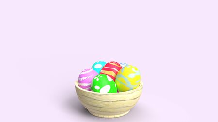 The Easter eggs in wood bowl 3d rendering for holiday content.