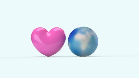 The world and pink heart for  holiday  content. 스톡 콘텐츠