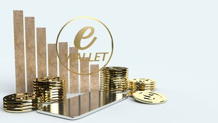 mobile symbol e wallet  and gold coins 3d rendering for e business concept.