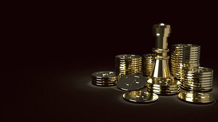 The gold chess and coins abstract image 3d rendering for business content
