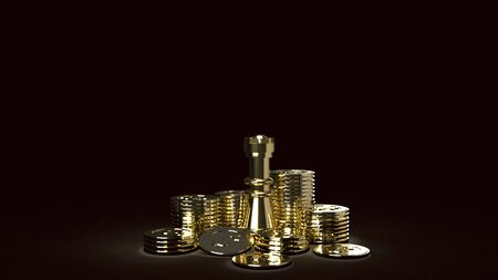 The gold chess and coins abstract image 3d rendering for business content 스톡 콘텐츠