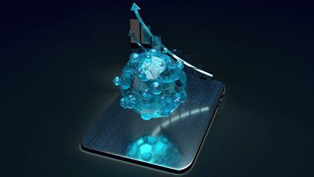The virus and chart on tablet 3d rendering for medicine application content.
