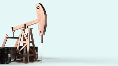 The oil drilling machine 3d rendering  for  petroleum content.