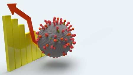 The virus and chart on white background 3d rendering for medicine application content.