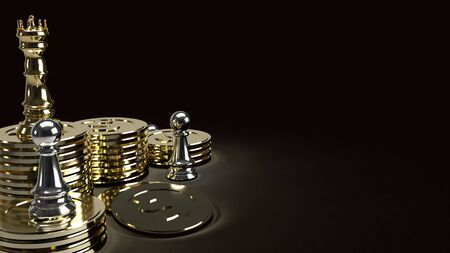 The gold king chess on gold coins and silver Pawn in dark tone 3d rendering for business content.