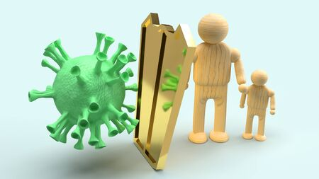 The man wooden and gold shield for protection virus 3d rendering.
