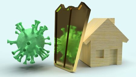 The home wooden and gold shield for protection virus 3d rendering.