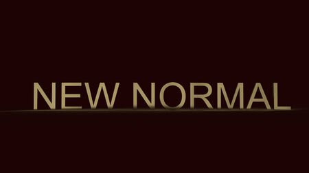 The new normal text gold colour in dark 3d rendering for lifestyle change after virus crisis content.