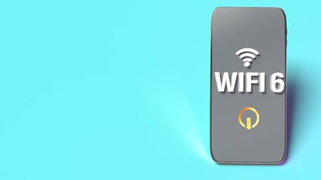 The wifi6 word on smart phone  3d rendering for networking content.