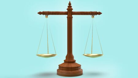 The libra law on blue background 3d rendering for law content.