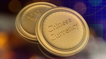 The gold coins 3d rendering for china digital currency content.