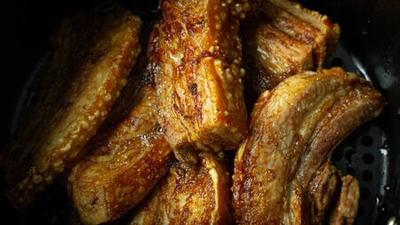 The crispy pork belly flat lay image for food content.