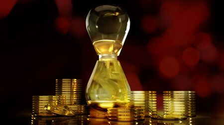 The hourglass and gold coins 3d rendering for business content.