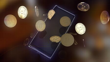 yuan symbol on gold coins and  mobile phone  3d rendering for china Digital Currency Electronic Paymentcontent. Stockfoto