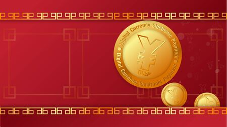 yuan symbol on gold coins and  mobile phone  vector image for china Digital Currency Electronic Payment content.