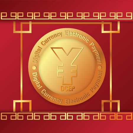 yuan symbol on gold coins and  mobile phone  vector image for china Digital Currency Electronic Paymentcontent.