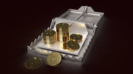 The gold coins in mouse trap 3d rendering  business concept Stockfoto