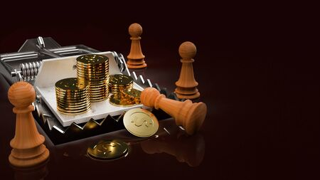 The gold coins in mouse trap 3d rendering  business concept