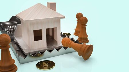 The wood house  in mouse trap 3d rendering  business concept