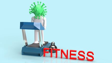 The treadmill running and virus 3d rendering for quarantine in fitness content.