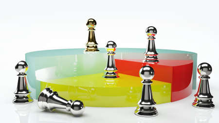 The pie chart and chess for business content 3d rendering