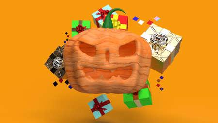The  pumpkin jack o lantern and gift box 3d rendering. 免版税图像 - 151125414