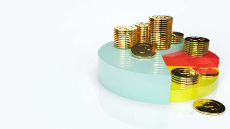 The pie chart and gold coins for business content 3d rendering