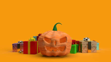 The  pumpkin jack o lantern and gift box 3d rendering.