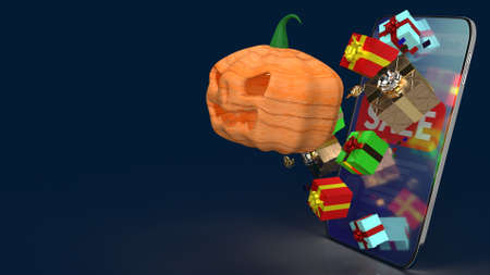 The  pumpkin jack o lantern and gift box on smartphone  3d rendering. 免版税图像