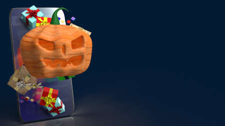 The  pumpkin jack o lantern and gift box on smartphone  3d rendering. 免版税图像 - 151124800