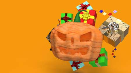 The  pumpkin jack o lantern and gift box 3d rendering. 免版税图像 - 151125607