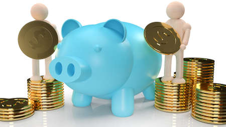 The blue piggy bank and wood figure hold gold coins for business content 3d rendering.