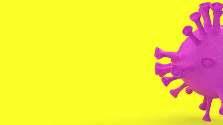 The virus on yellow background for medical content 3d rendering Stock fotó