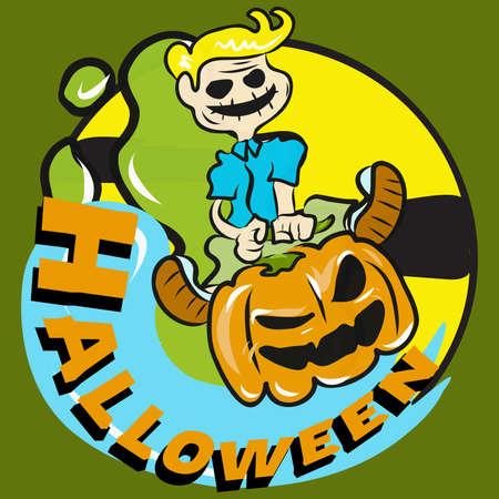 The child drive jack o lantern  vector image for halloween content. Illusztráció
