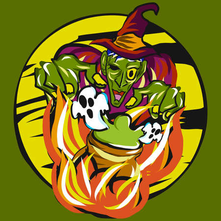 witches and ghost vector image for halloween content.