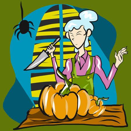 woman cooking pumpkin for halloween content. Illusztráció