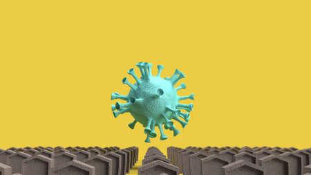 The gravestone and virus for coronavirus content 3d rendering. Stock fotó