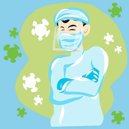 A doctor and virus for medical content vector image.