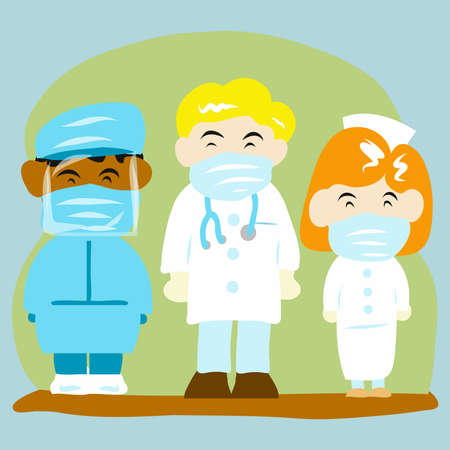 A doctor and team for medical content vector image.