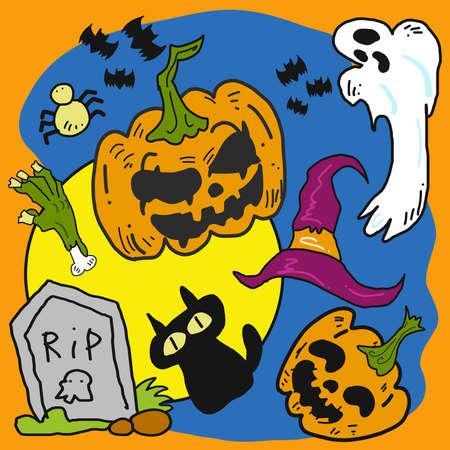 vector pumpkin and friend cartoon for halloween content.