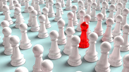 The chess red and white colour for strategy or business content  3d rendering.