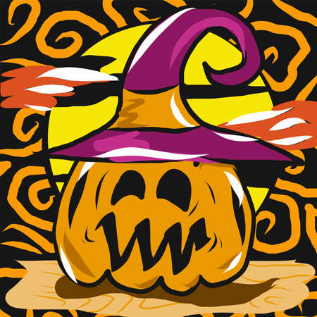 The jack o lantern  and witch hat for halloween content vector image.