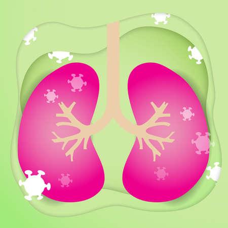 The Lung and virus vector image for coronavirus content. Illusztráció