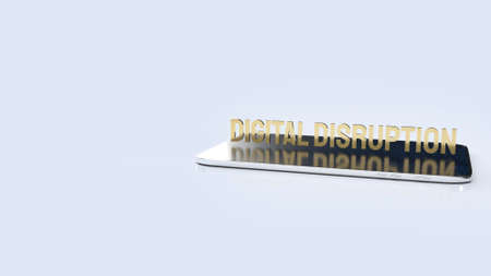 The digital disruption on tablet  for technology content 3d rendering. Stock fotó